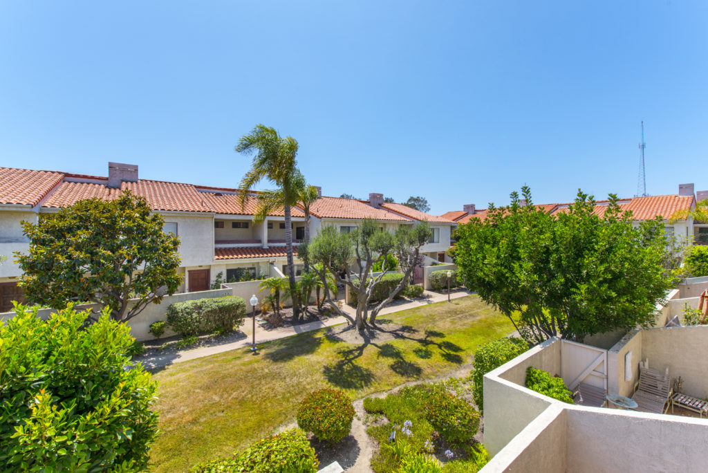 View of the greenbelt area of Park Plaza townhomes in Torrance CA