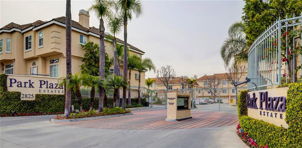 Gated entry to the Park Plaza Estates community in the Plaza Del Amo area of Torrance